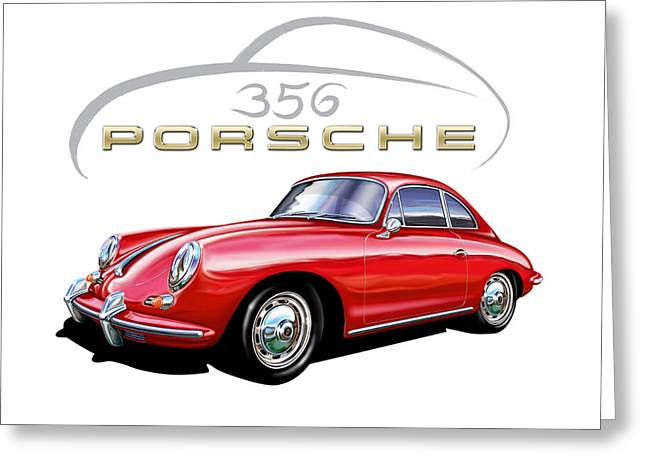 David Kyte Greeting Cards - Porsche 356 Coupe Red Greeting Card by David Kyte