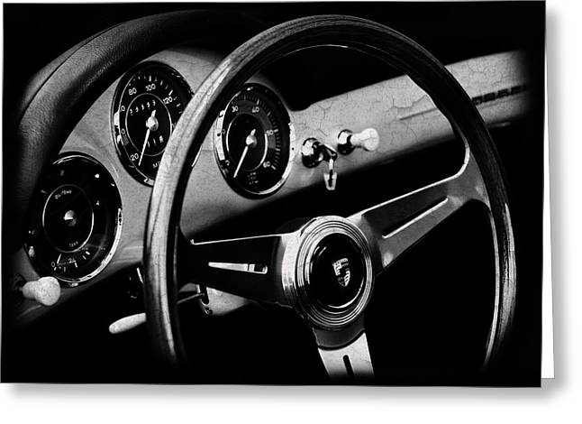 Classic Porsche 356 Greeting Cards - Porsche 356 Interior Greeting Card by Mark Rogan