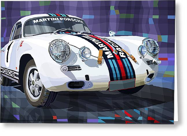 Classic Mixed Media Greeting Cards - Porsche 356 Martini Racing Greeting Card by Yuriy Shevchuk