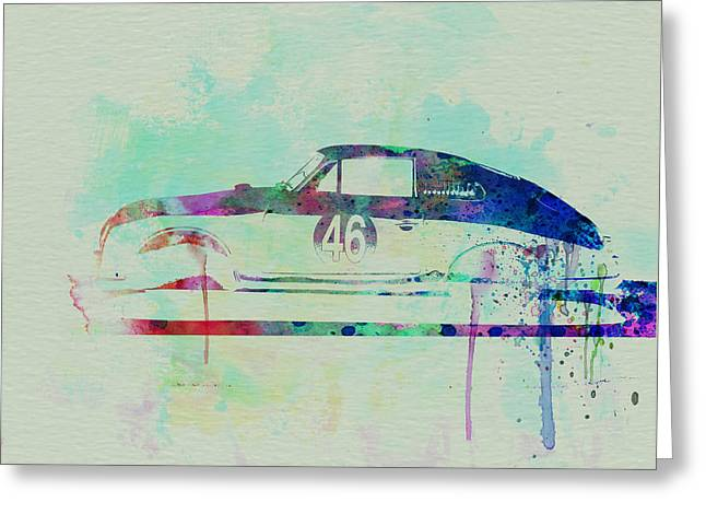 Classic Drawings Greeting Cards - Porsche 356 Watercolor Greeting Card by Naxart Studio