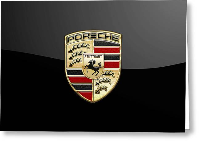Crest Greeting Cards - Porsche 3D Badge-Logo on Black Greeting Card by Serge Averbukh