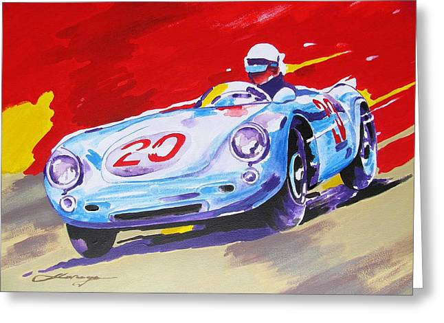 Quality Mixed Media Greeting Cards - PORSCHE 550 RS 1956 in full speed Greeting Card by Dan Haraga