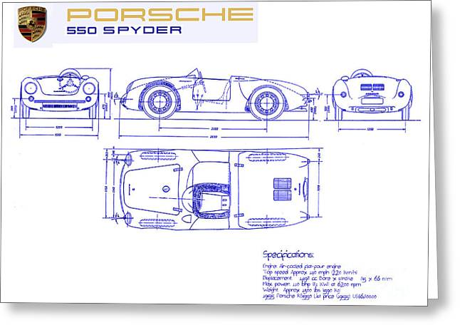 550 Greeting Cards - Porsche 550 Spyder Blueprint  Greeting Card by Jon Neidert