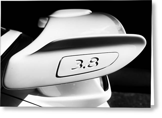 Nine Eleven Greeting Cards - Porsche 911 3.8 rear wing emblem badge Greeting Card by Nomad Art And  Design