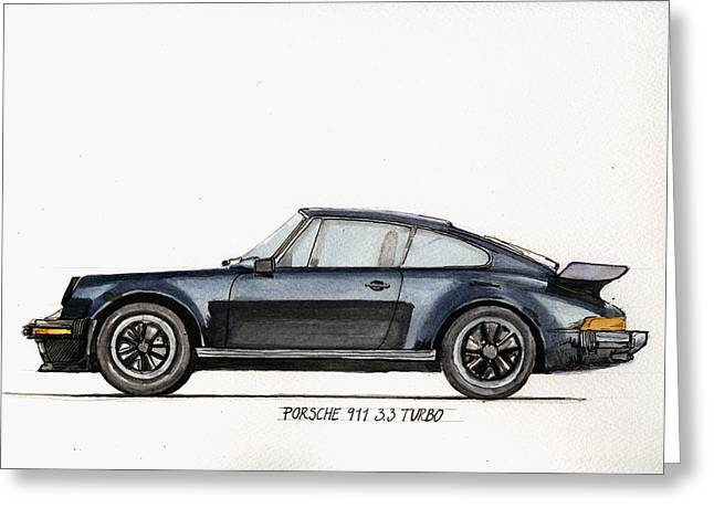 Original Watercolor Greeting Cards - Porsche 911 930 turbo Greeting Card by Juan  Bosco