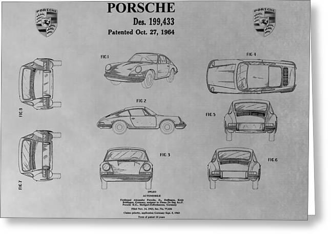 Original Porsche 356 Greeting Cards - Porsche 911 Patent Greeting Card by Dan Sproul