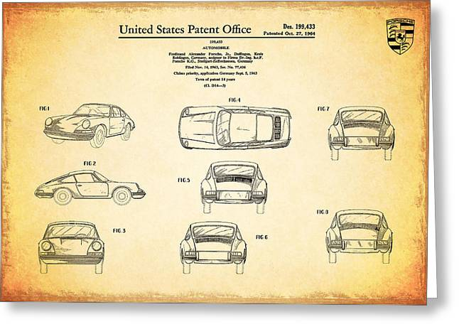 Transport Greeting Cards - Porsche 911 Patent Greeting Card by Mark Rogan