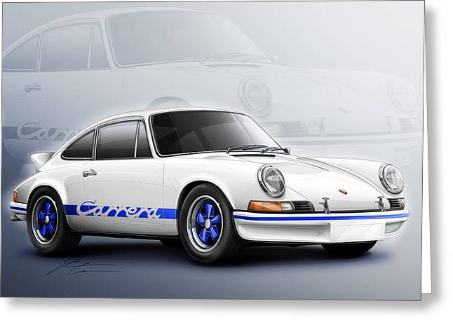 German Race Car Greeting Cards - Porsche 911 RS 1973 Greeting Card by Etienne Carignan