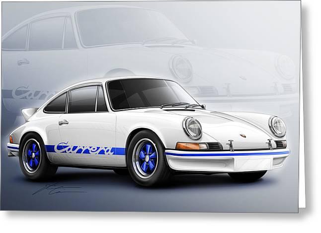 European Artwork Greeting Cards - Porsche 911 RS 1973 Greeting Card by Etienne Carignan