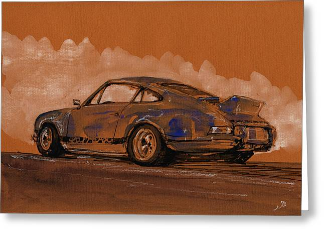 Rally Greeting Cards - Porsche 911 RS classic Greeting Card by Juan  Bosco