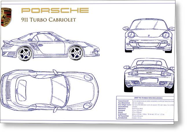 550 Greeting Cards - Porsche 911 Turbo Blueprint Greeting Card by Jon Neidert