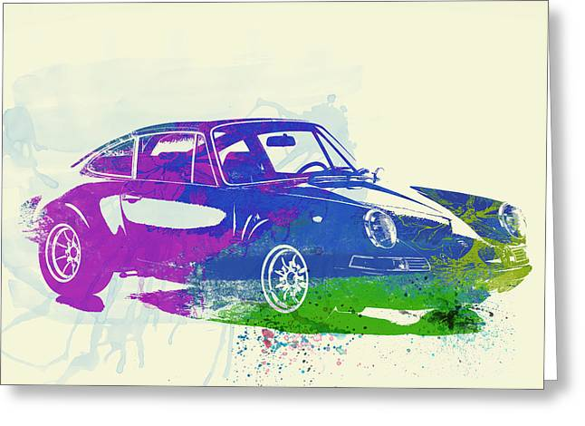 Concept Photographs Greeting Cards - Porsche 911 Watercolor Greeting Card by Naxart Studio