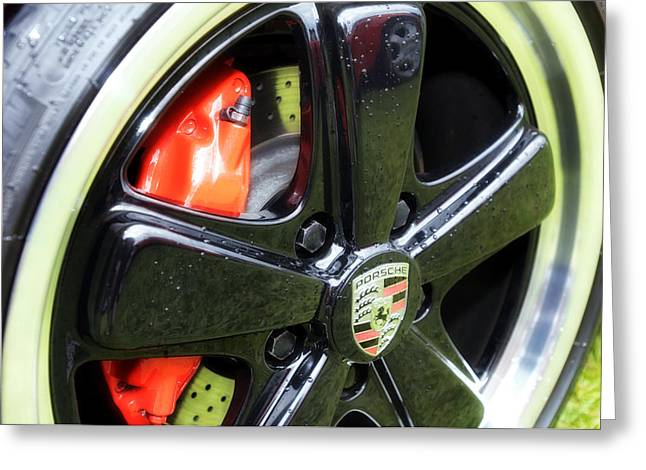Nine Eleven Greeting Cards - Porsche 911 Wheel close up  Greeting Card by Nomad Art And  Design