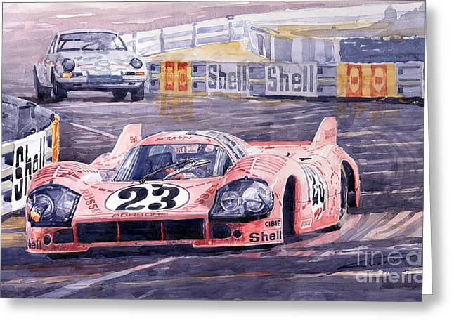 Racing Car Greeting Cards - Porsche 917-20 Pink Pig Le Mans 1971 Joest Reinhold Greeting Card by Yuriy  Shevchuk
