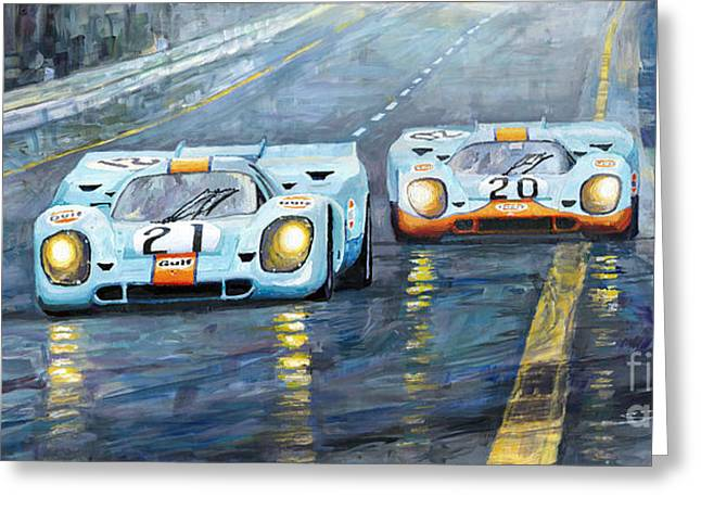 Racing Car Greeting Cards - Porsche 917 K GULF Spa Francorchamps 1970 Greeting Card by Yuriy  Shevchuk