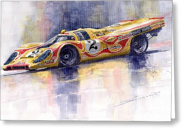 Legengs Greeting Cards - Porsche 917 K Martini Kyalami 1970 Greeting Card by Yuriy Shevchuk