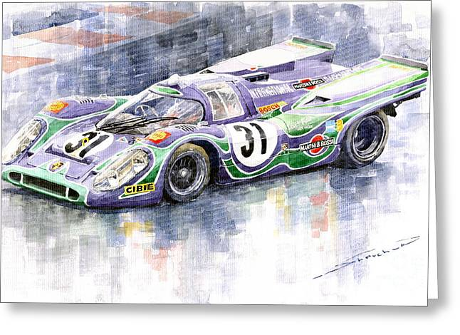 Sport Legends Greeting Cards - Porsche 917 K Martini Racing 1970 Greeting Card by Yuriy  Shevchuk