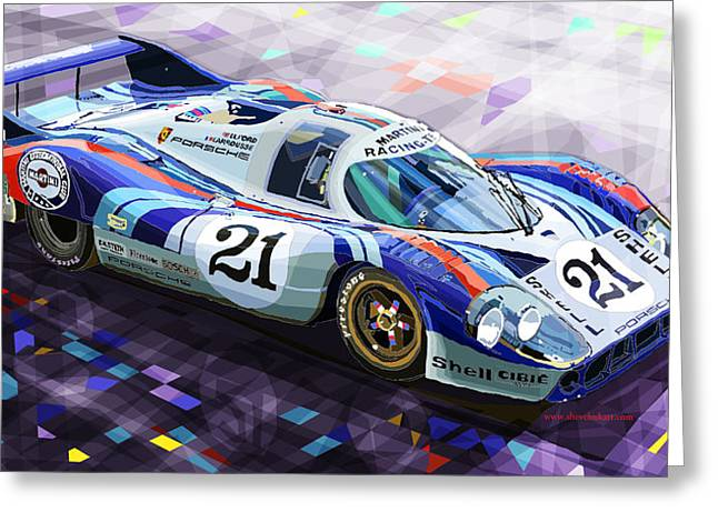 Men Mixed Media Greeting Cards - Porsche 917 LH Larrousse Elford 24 Le Mans 1971 Greeting Card by Yuriy  Shevchuk