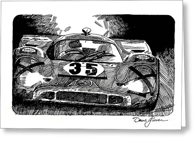 Automotive Illustration Greeting Cards - Porsche 917 Longtail Greeting Card by David Lloyd Glover