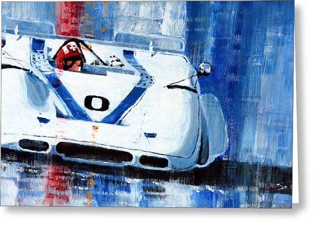 Laguna Seca Greeting Cards - Porsche 917 PA J.Siffert Laguna seca CanAm 1969 Greeting Card by Yuriy Shevchuk
