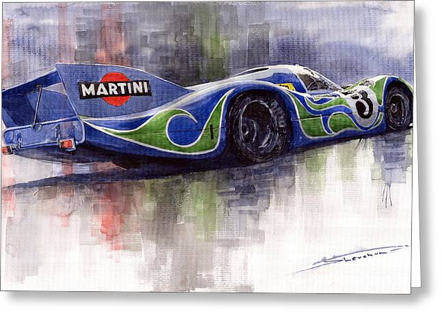 Team Paintings Greeting Cards - Porsche 917 Psychodelic  Greeting Card by Yuriy Shevchuk