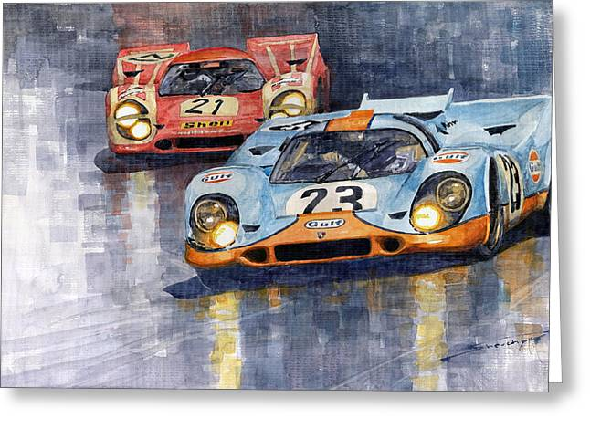 Austria Paintings Greeting Cards - Porsche 917K 1000km Zeltweg Austria 1970  Greeting Card by Yuriy Shevchuk