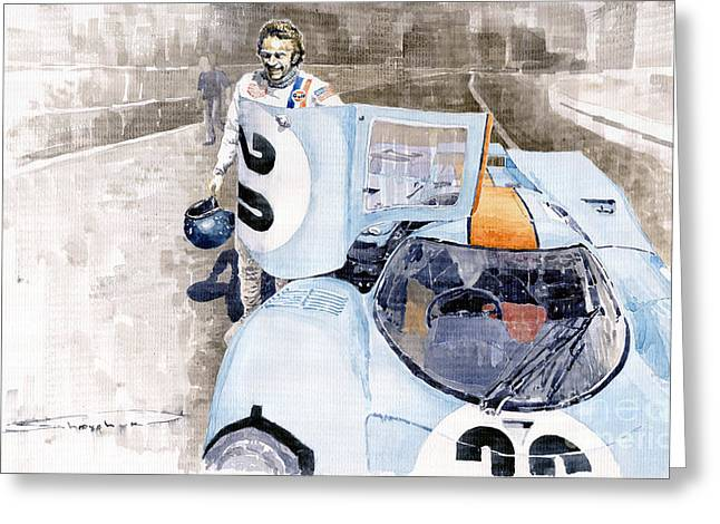 24 Greeting Cards - Porsche 917K Le Mans  Steve McQueen Greeting Card by Yuriy  Shevchuk
