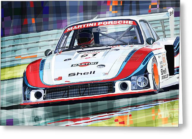 Racing Car Greeting Cards - Porsche 935 Coupe Moby Dick Martini Racing Team Greeting Card by Yuriy  Shevchuk