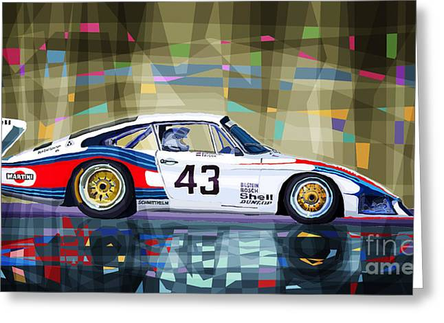 Moby Dick Greeting Cards - Porsche 935 Coupe Moby Dick Greeting Card by Yuriy  Shevchuk