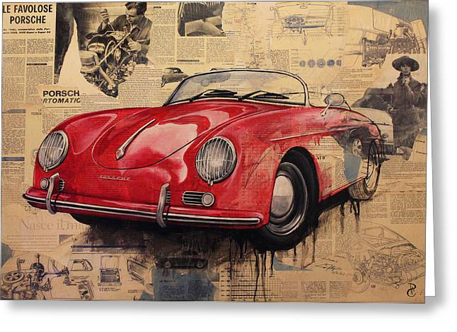 Weels Greeting Cards - Porsche Greeting Card by Alessandra Pagliuca