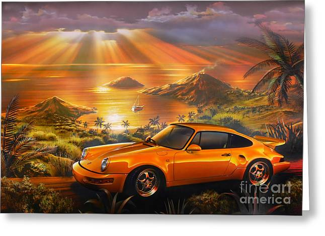 Driving Greeting Cards - Porsche Beach Greeting Card by Adrian Chesterman
