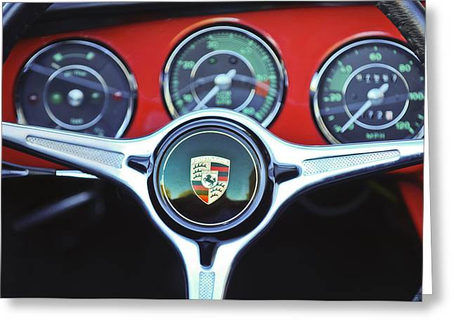 Car Photographer Greeting Cards - Porsche C Steering Wheel Emblem -1227c Greeting Card by Jill Reger