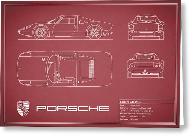 Porsche Greeting Cards - Porsche Carrera Blueprint - Red Greeting Card by Mark Rogan