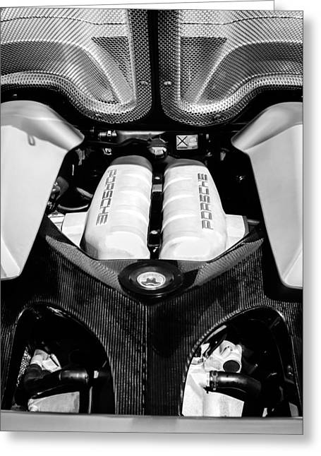 Famous Photographer Greeting Cards - Porsche Carrera GT Engine -0339bw Greeting Card by Jill Reger