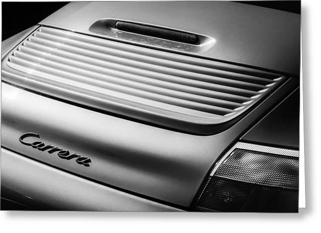 Sports Photo Print Greeting Cards - Porsche Carrera Rear Emblem -1049bw Greeting Card by Jill Reger