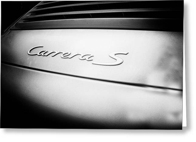 Nine Eleven Greeting Cards - Porsche Carrera S Badge Greeting Card by Nomad Art And  Design