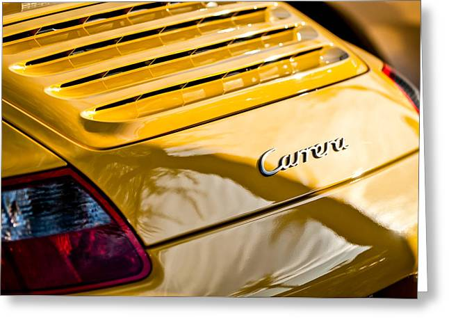 Famous Photographer Greeting Cards - Porsche Carrera Taillight Emblem -0568c Greeting Card by Jill Reger