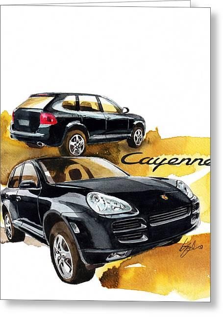 Cayenne Greeting Cards - Porsche Cayenne Greeting Card by Yoshiharu Miyakawa