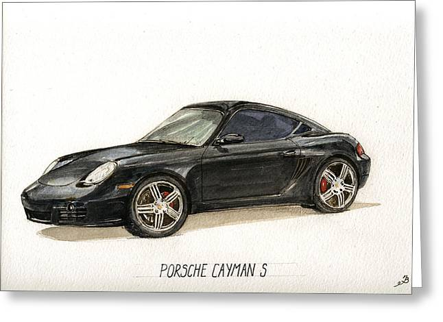 Rally Greeting Cards - Porsche Cayman S Greeting Card by Juan  Bosco
