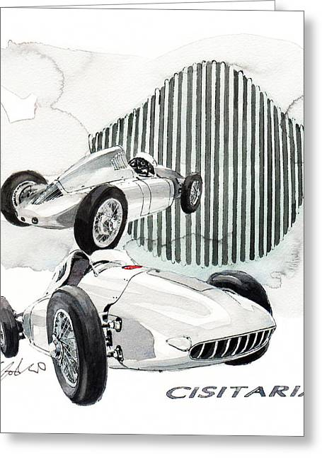 360 Greeting Cards - Porsche Typ 360 Cisitalia Greeting Card by Yoshiharu Miyakawa