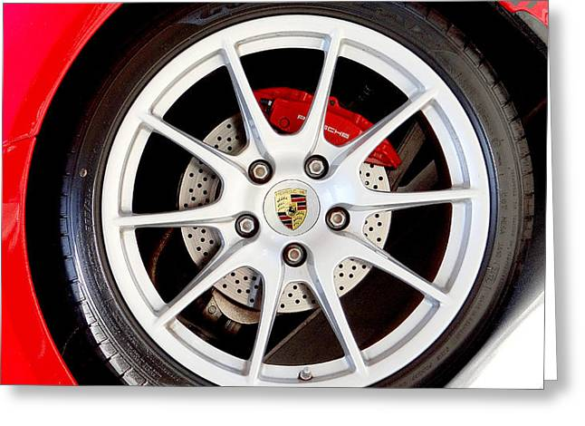 Disk Mixed Media Greeting Cards - Porsche Greeting Card by Dennis Dugan