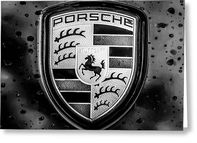 Famous Photographers Greeting Cards - Porsche Emblem -0006bw55 Greeting Card by Jill Reger