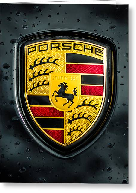 Sports Photo Print Greeting Cards - Porsche Emblem -0006c45 Greeting Card by Jill Reger