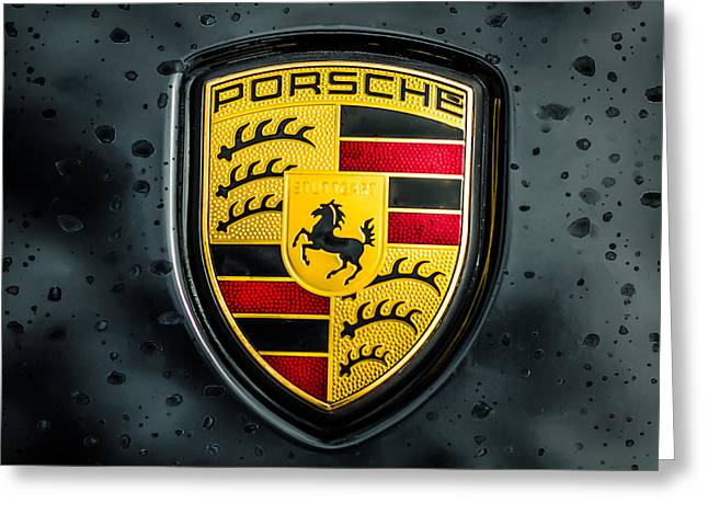 Famous Photographers Greeting Cards - Porsche Emblem -0006c55 Greeting Card by Jill Reger