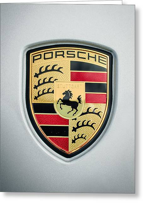 Famous Photographer Greeting Cards - Porsche Emblem -0033c45 Greeting Card by Jill Reger