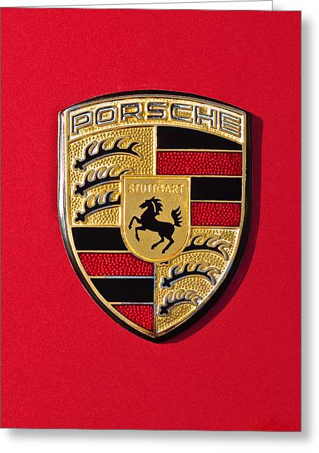 Pictures Photographs Greeting Cards - Porsche Emblem -0057cold Greeting Card by Jill Reger