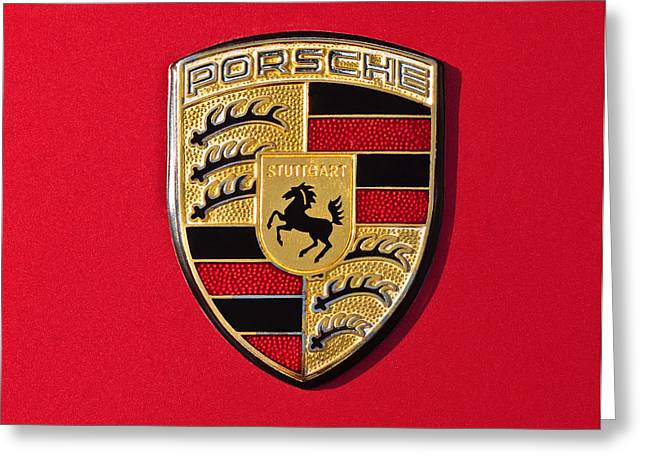 Porsche Emblem -0057cold Greeting Card by Jill Reger