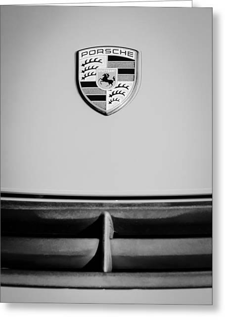 Sports Photo Print Greeting Cards - Porsche Emblem -0671bw Greeting Card by Jill Reger
