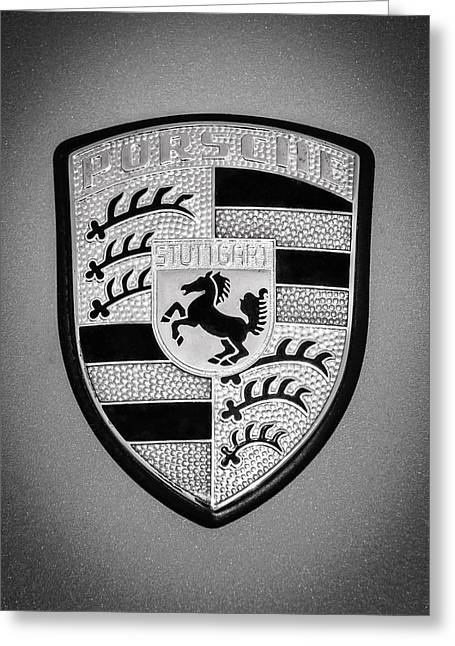 Sports Photo Print Greeting Cards - Porsche Emblem -0747bw45 Greeting Card by Jill Reger