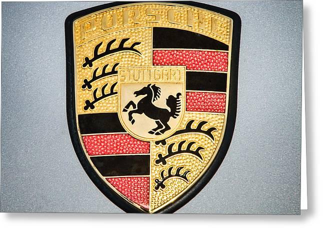Sports Photo Print Greeting Cards - Porsche Emblem -0747c55 Greeting Card by Jill Reger